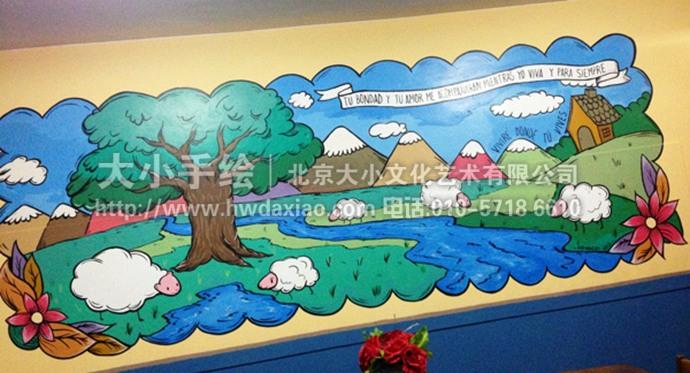 卡通墙绘,牧场,羊,卡通风景彩绘,餐厅手绘墙,办公室手绘墙,北京墙绘公