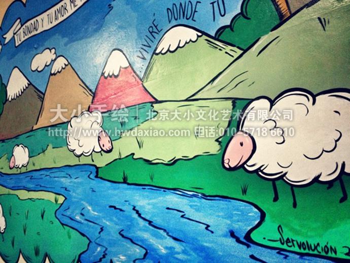 卡通风景彩绘,餐厅手绘墙