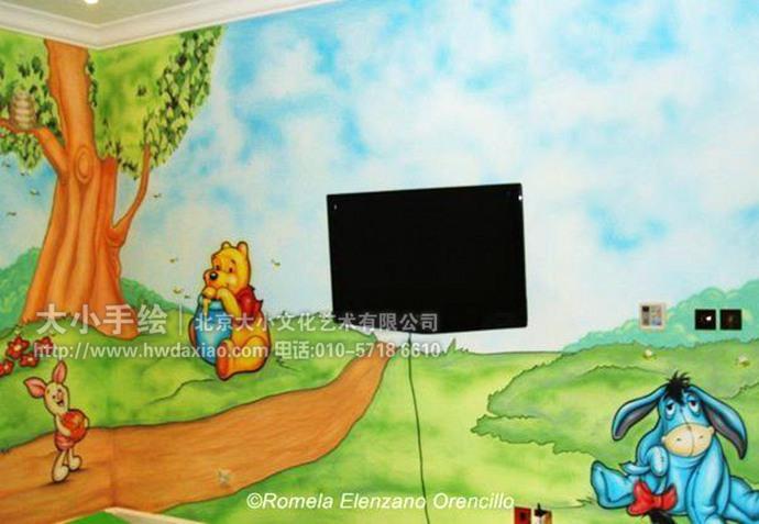 我长大了主题墙画-友们儿童房手绘墙壁画