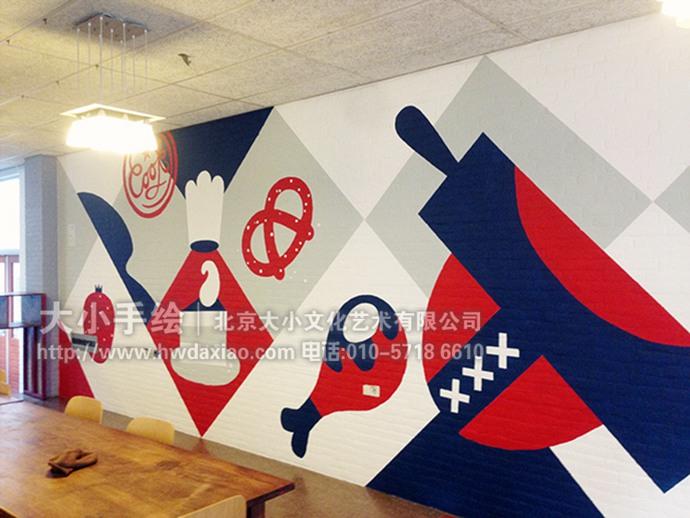 餐厅icon饮食主题手绘墙壁画