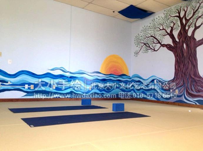 日出,古树,海岸,印象派墙绘,餐厅手绘墙,办公室手绘墙,北京墙绘公司