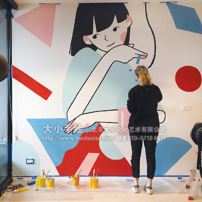 少女系壁画,温馨彩绘,户外壁画,餐厅手绘墙,办公室手绘墙,北京墙绘