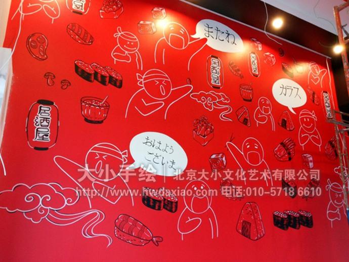 日式漫画,美食墙绘,日式料理彩绘,餐厅手绘墙,办公室手绘墙,北京墙绘