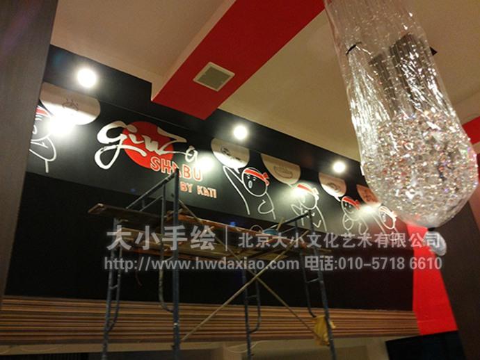 日式漫画,美食墙绘,日式料理彩绘,餐厅手绘墙,办公室手绘墙,北京墙绘图片