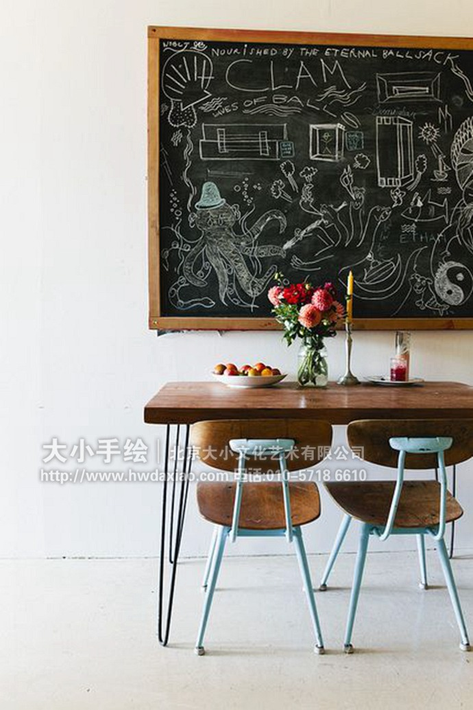[转载]创意十足的黑板画手绘墙壁画