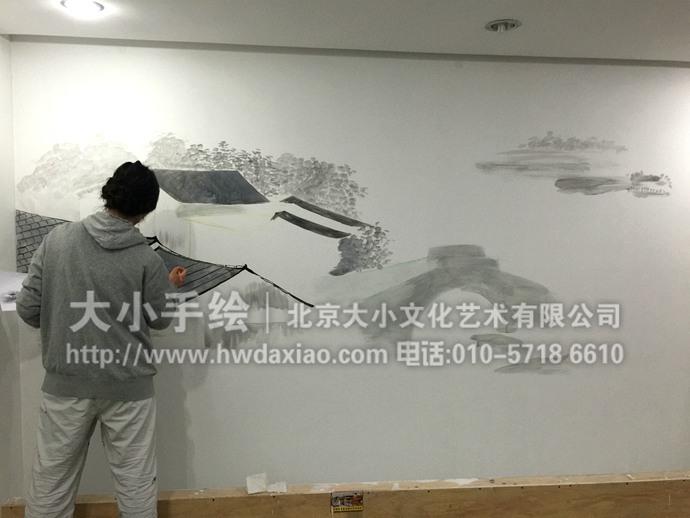 梦里水乡:水墨写意餐厅手绘墙壁画