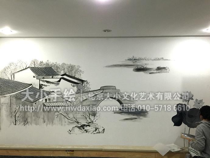 意餐厅手绘墙壁画