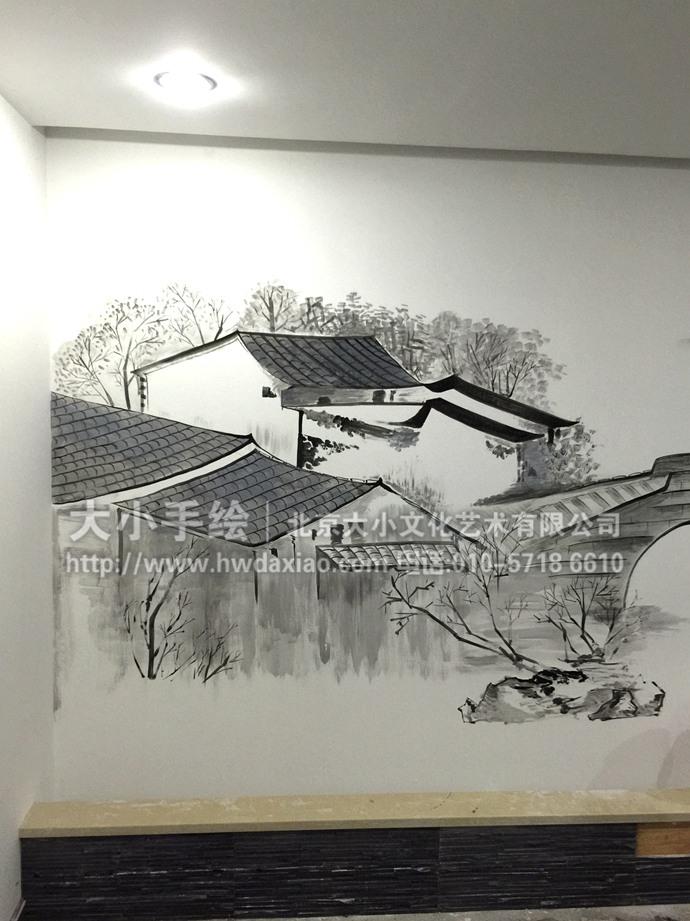 江南水乡,写意壁画, 国画墙绘,荷花,水墨画,小桥流水,餐厅手绘墙,办公