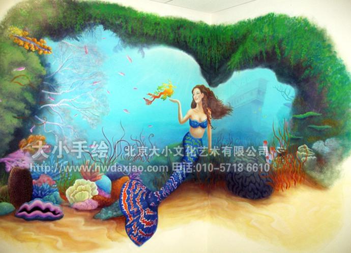 海底世界彩绘,海洋生物壁画,海豚,鲸,章鱼,美人鱼,海獭,鲨鱼,海浪