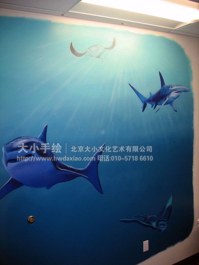奇妙的海洋生物手绘墙壁画