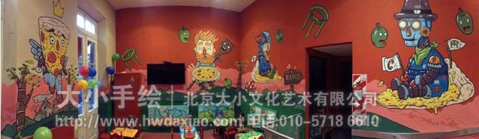 卡通人物彩绘,披萨,机器人,美食壁画,餐厅手绘墙,办公室手绘墙,儿童房