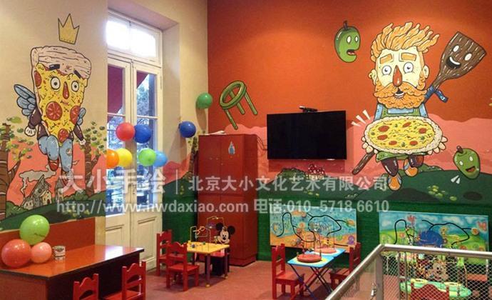 欢乐的披萨王国幼儿园手绘墙壁画