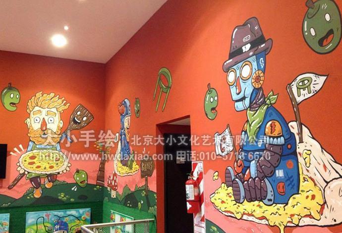 美食壁画,餐厅手绘墙,办公室手绘墙,儿童房壁画,幼儿园彩绘,北京墙绘