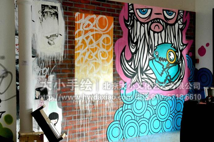 街头涂鸦风格餐厅手绘墙壁画