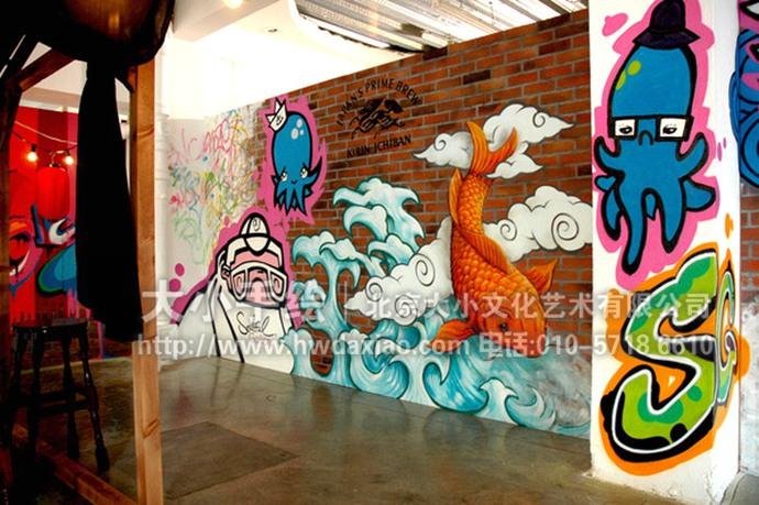 街头涂鸦风格餐厅手绘墙壁画-俏皮餐厅黑板涂鸦墙
