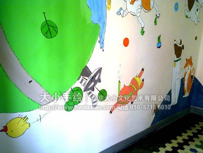 卡通动物星球儿童房手绘墙壁画