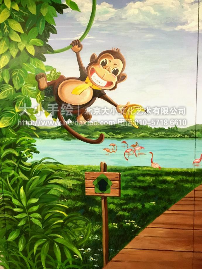 小绿洲儿童乐园3d立体手绘墙壁画