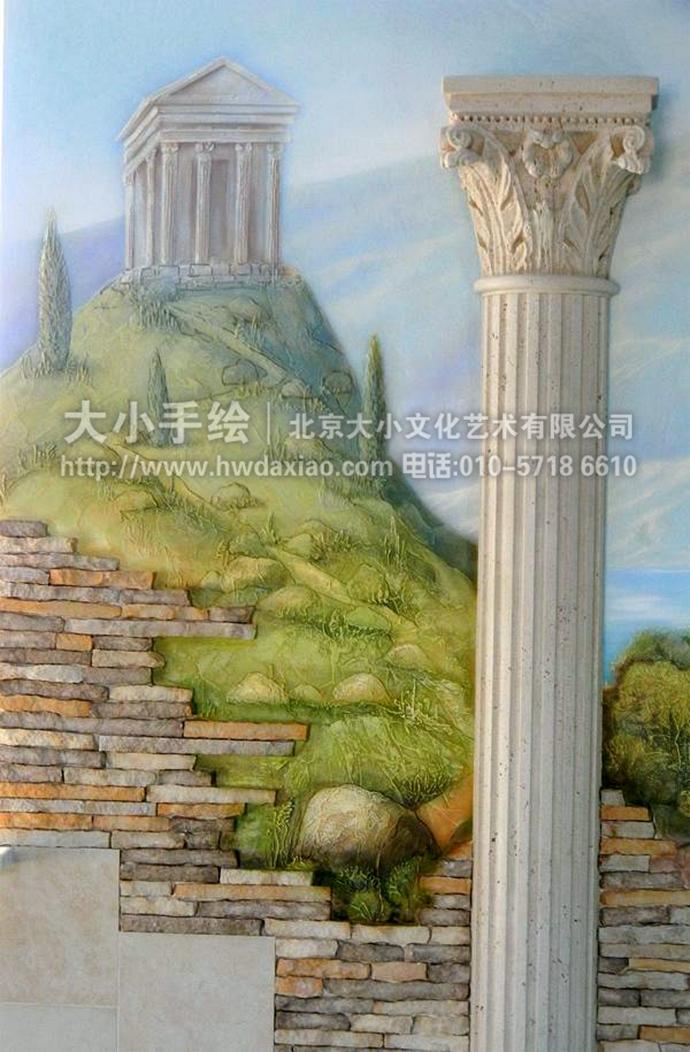 希腊古典风景油画手绘墙壁画