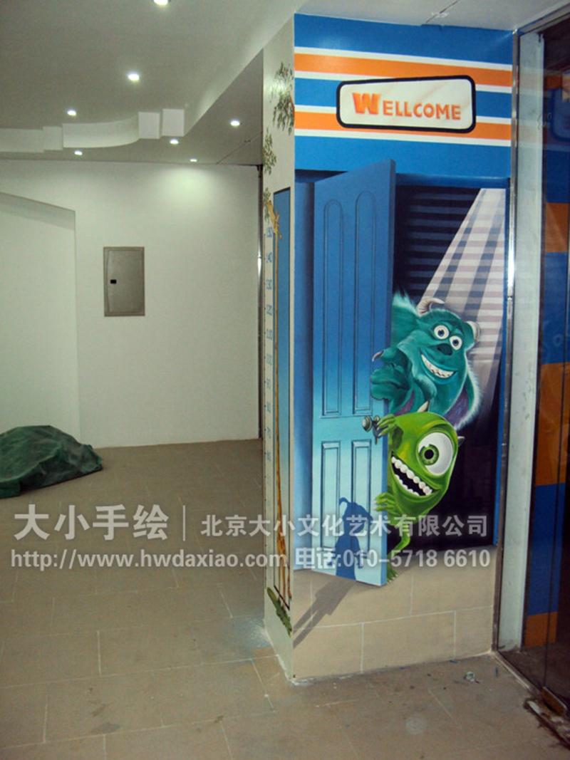 怪物公司卡通人物3d电影院手绘墙壁画