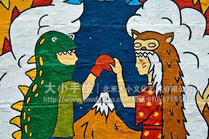印第安风格卡通人物街道手绘墙壁画 墙体彩绘