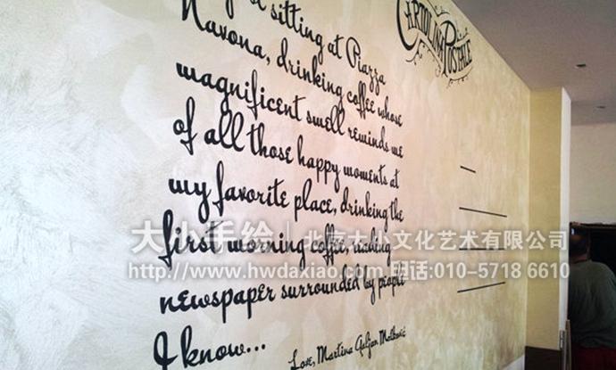 复古怀旧风明信片餐厅手绘墙壁画