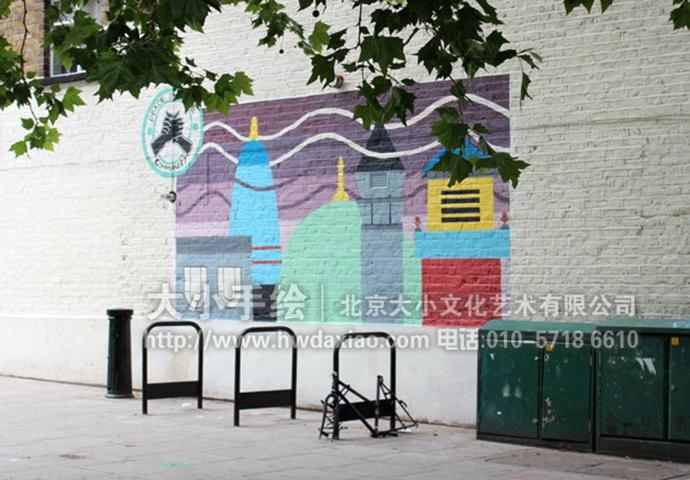 宁静城市街道装饰手绘墙壁画图片