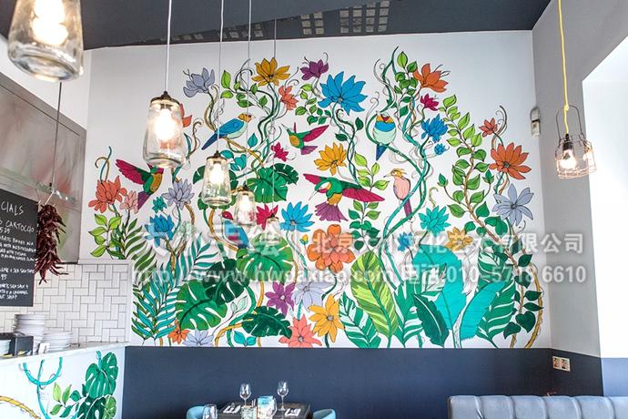 花鸟手绘墙,藤蔓彩绘,公寓大厅壁画,唯美墙绘,餐厅手绘墙,办公室手绘
