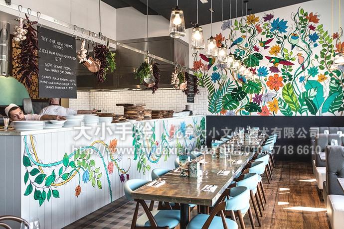 精美花鸟藤蔓餐厅手绘墙壁画 墙体彩绘