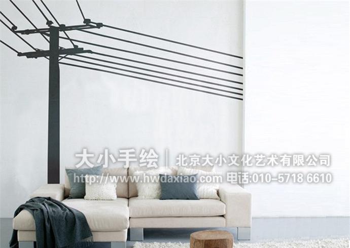 简约墙绘,黑白线条彩绘,家居美化手绘墙,室内壁画,餐厅手绘墙,办公室