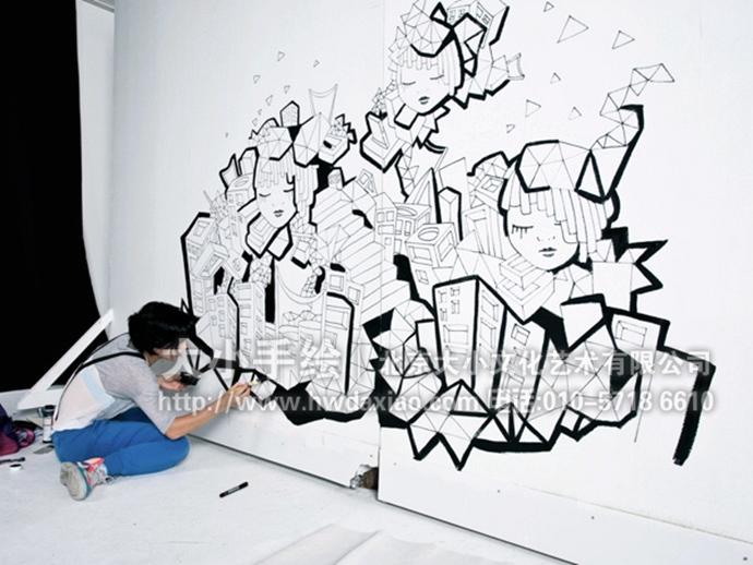 黑白线描墙绘,创意彩绘,人物手绘墙,概念壁画,餐厅手绘墙,办公室手绘