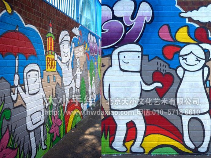 可爱的卡通人物,组成了一个奇妙的世界,这组手绘墙壁画让人轻松