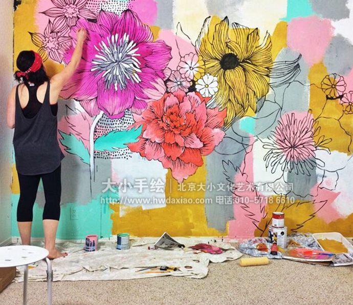 文字墙绘,装饰墙体彩绘,花卉手绘墙,精美创意壁画,餐厅手绘墙,办公室