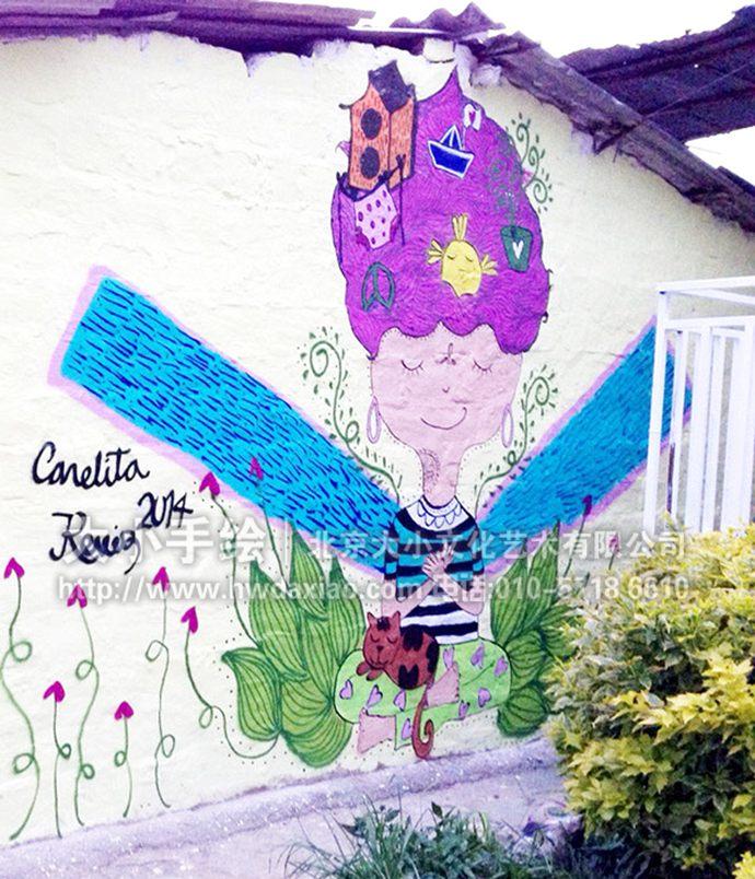 少女墙绘,卡通彩绘,户外手绘墙,创意壁画,餐厅手绘墙,办公室手绘墙
