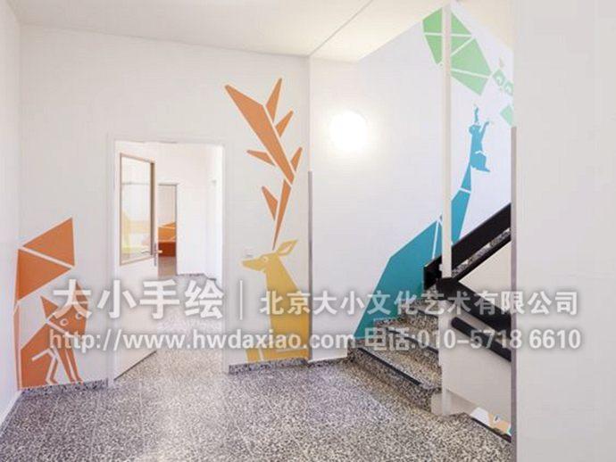 七巧板墙绘,动物彩绘,幼儿园教室手绘墙,走廊楼梯间壁画,餐厅手绘墙