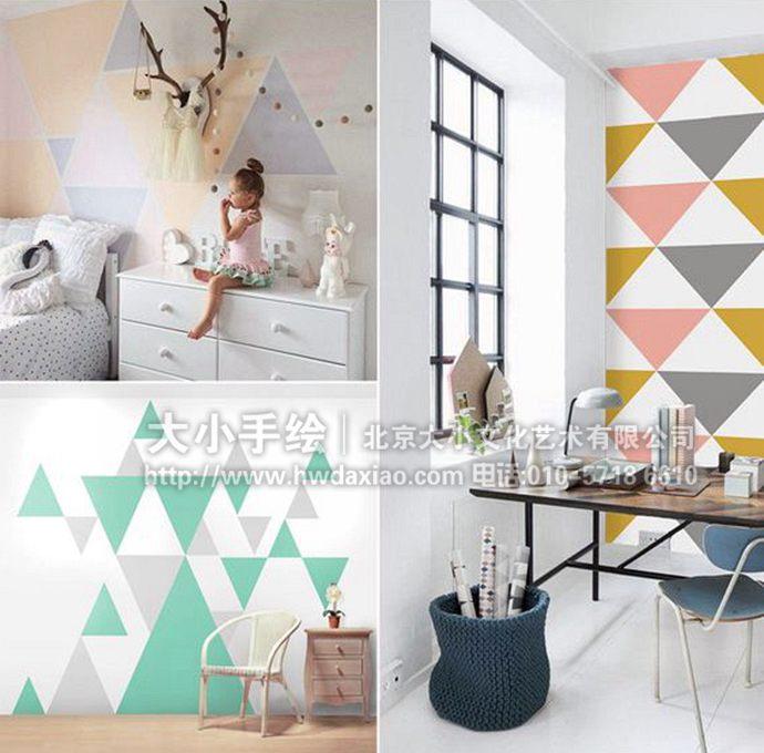 拼接彩色几何图形墙体彩绘打造温馨家园