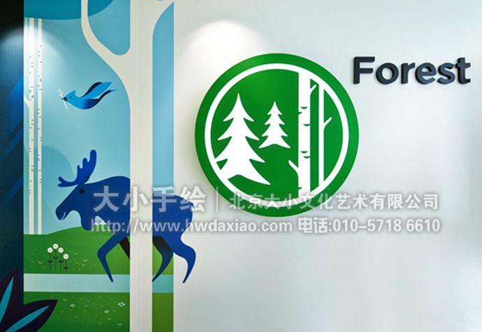 森林墙绘,自然彩绘,走廊手绘墙,校园文化墙壁画,餐厅手绘墙,办公室