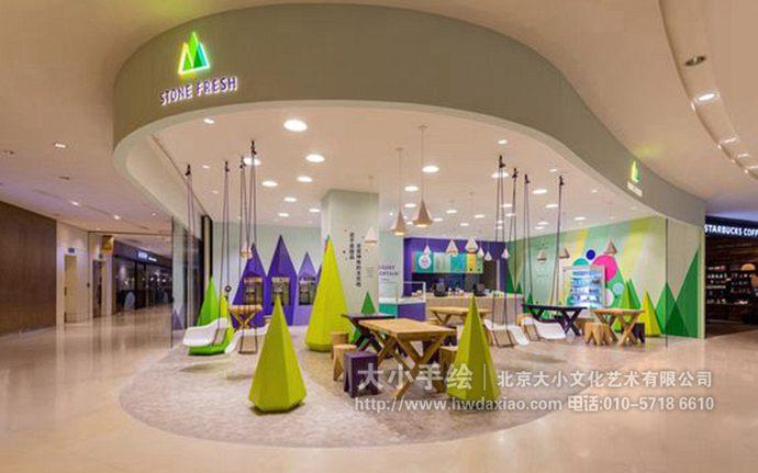 店铺手绘墙,抽象风景壁画,餐厅手绘墙,办公室手绘墙,北京墙绘公司