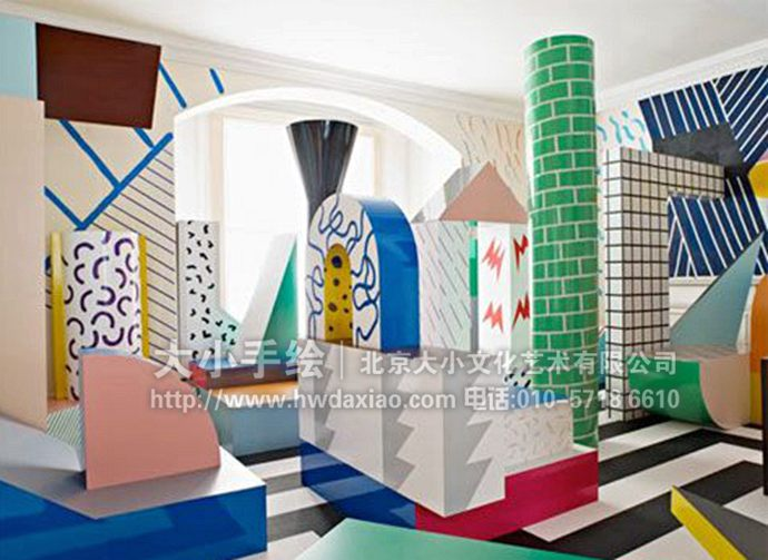 线条墙绘,多彩彩绘,客厅手绘墙,儿童空间壁画,餐厅手绘墙,办公室手绘