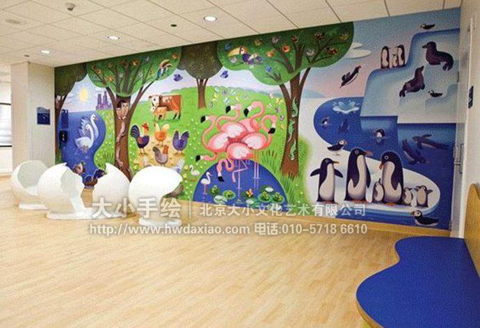 动物园卡通墙绘,幼儿园彩绘,早教中心手绘墙,走廊壁画,餐厅手绘墙