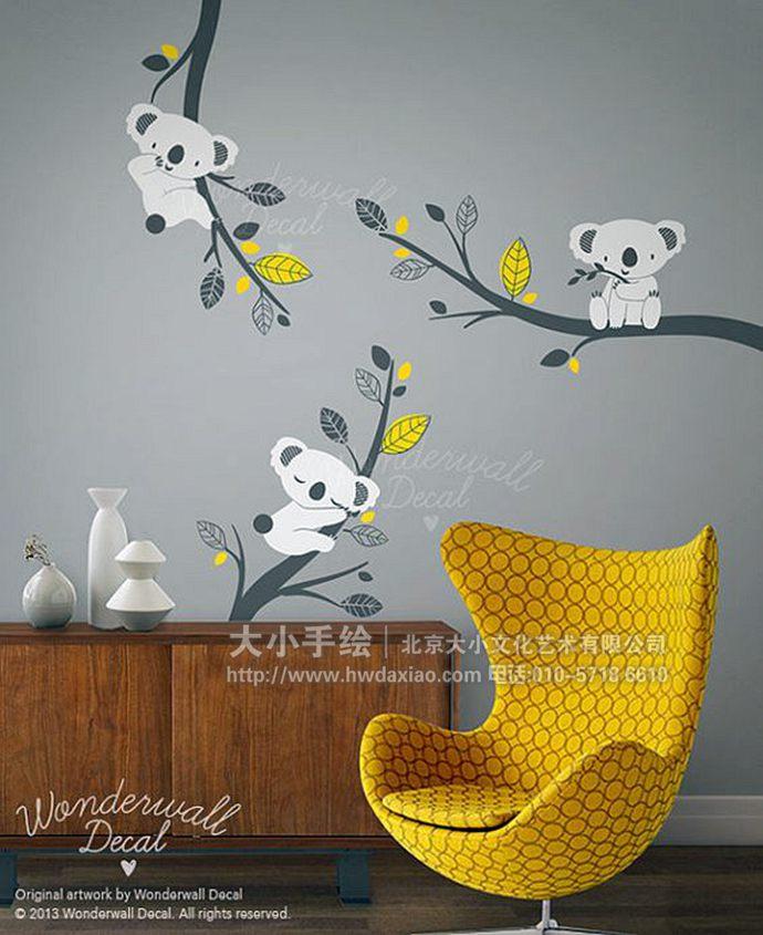 卡拉墙绘,动物彩绘,儿童房手绘墙,幼儿园壁画,餐厅手绘墙,办公室手绘