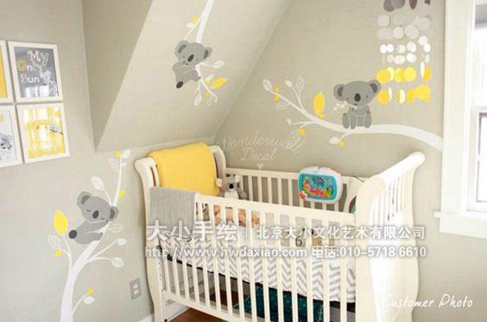特别可爱的考拉儿童房手绘墙壁画