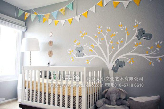 小动物,所以这样的手绘墙壁画特别适合作为儿童房