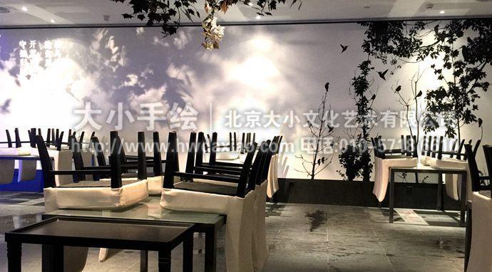 鸟与树的剪影:大董烤鸭店精品餐厅手绘墙壁画
