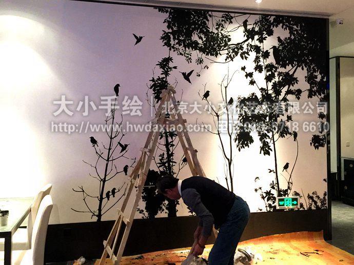 自然风景墙绘,精品创意彩绘,国画风韵手绘墙,剪影壁画,餐厅手绘墙