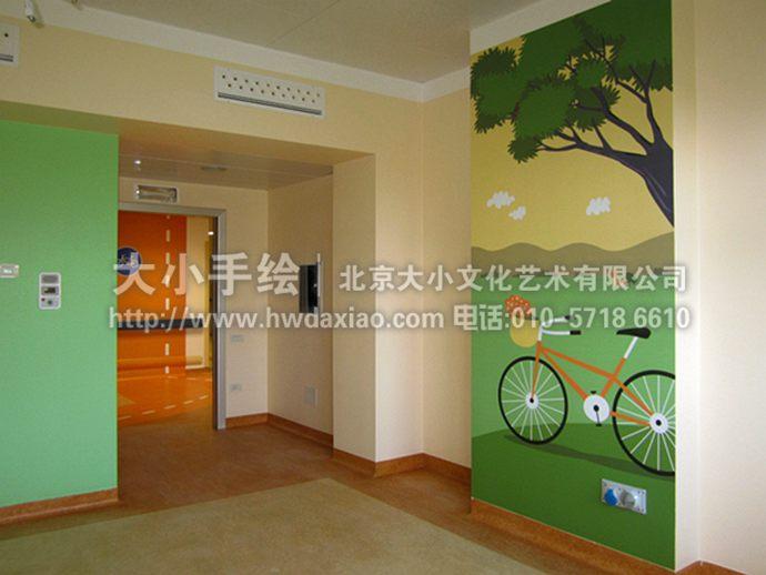 儿童房彩绘,幼儿园手绘墙,自行车,树林,早教中心壁画,餐厅手绘墙,办公
