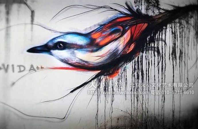 手绘墙,以鸟类为主题,造型准确生动,色彩夸张却不让人觉得有违和感
