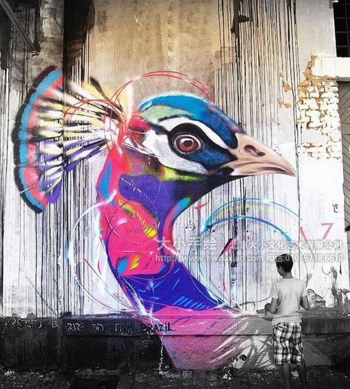 孔雀,蜂鸟,野鸭,街道手绘墙,创意壁画,餐厅手绘墙,办公室手绘墙,北京
