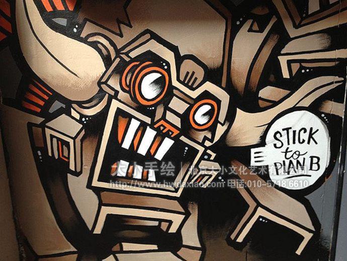 元素混搭:创意卡通人物餐厅手绘墙壁画