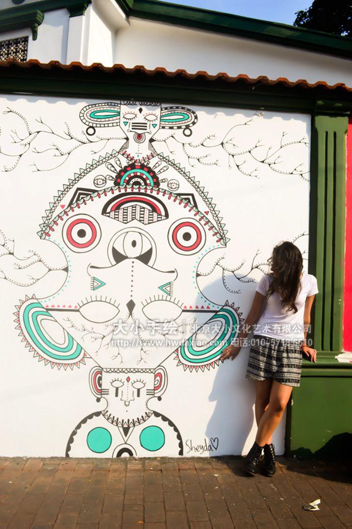 旅店墙绘,外墙彩绘,图腾面具手绘墙,民族特色壁画,餐厅手绘墙,办公室