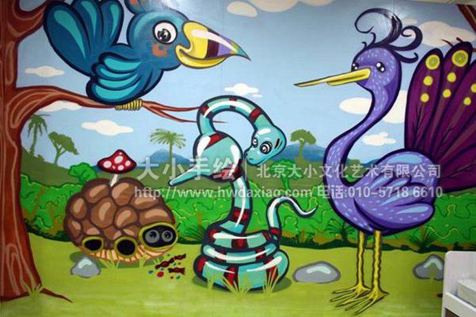 开心动物园幼儿园手绘墙壁画